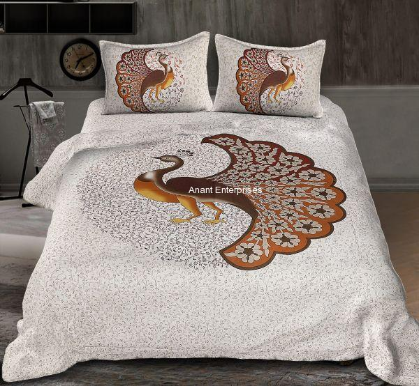 Jaipuri printed QUEEN SIZE WITH PILLOW COVER CREAM