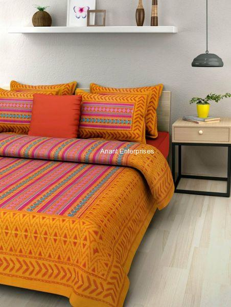 Jaipuri printed QUEEN SIZE WITH PILLOW COVER ORANGE