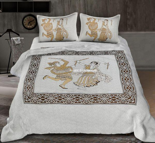 Jaipuri printed QUEEN SIZE WITH PILLOW COVER GREY